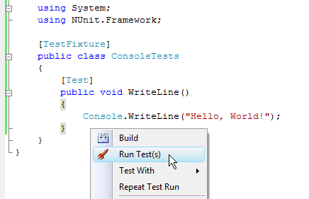 Figure 2. Run Test(s) menu item
